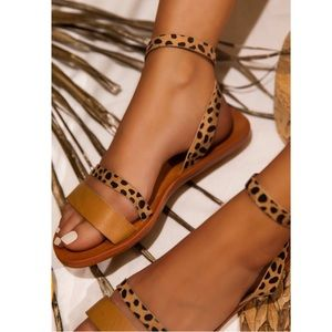 Tan Cheetah Print Ankle Strap Flat Sandals